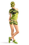 Sexy blond woman in camouflage style making gun Royalty Free Stock Photography
