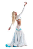 blond woman dance in oriental costume Royalty Free Stock Photography