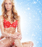 A sexy blond woman in erotic lingerie on a snowy background Stock Images