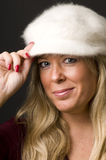 Sexy blond woman with fashion hat Royalty Free Stock Photo