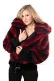 Sexy blond woman in a fur jacket Stock Images