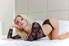 Sexy blond woman in lingerie Stock Photos