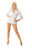Sexy blond woman. With long legs Stock Photo
