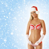 A sexy blond woman posing in erotic Santa lingerie Stock Photos