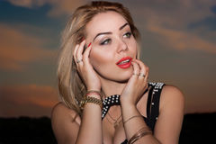 Sexy blond woman with red lipstick Royalty Free Stock Photo