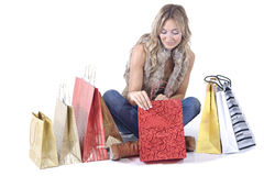 Sexy blond woman with shopping bags Stock Image