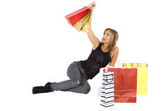 blond woman with shopping bags Stock Photos