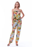 Sexy blond woman wear overalls colorful cotton suit casual style Stock Image