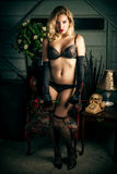 Sexy Blond Woman Wearing Black Lingerie Royalty Free Stock Images