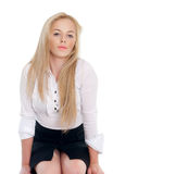 Sexy blonde. Young sexy blond woman in white shirt Stock Images