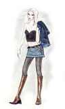 Sexy Blonde. Fashion illustration showing a sexy blonde with attitude, wearing boots and an denim miniskirt. Spicy and bold Stock Photography