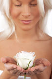 Sexy blonde with beautiful rose Royalty Free Stock Photography