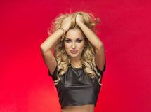 blonde beautiful woman. royalty free stock images