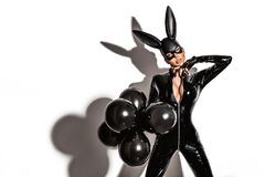 Free Sexy Blonde Beautiful Woman Posing In Latex Costume And Black Bunny Mask On White Background. Royalty Free Stock Photo - 177024455