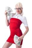 Sexy blonde bedrijfsvrouw in rode aanbiedingsdollars stock fotografie