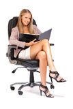 Sexy blonde boss working Stock Photo