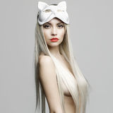 Sexy blonde in cat mask. Fashion photo of beautiful sexy blonde in cat mask Stock Images