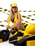 Sexy blonde  construction worker Royalty Free Stock Photography