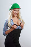 Sexy blonde construction worker Royalty Free Stock Images