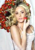 Sexy blonde Damenaufstellung Stockbild