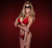 Sexy blonde Damenaufstellung Lizenzfreies Stockbild