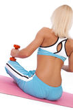 Sexy blonde doing yoga exercise Stock Image
