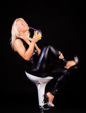 Sexy blonde is drinking Royalty Free Stock Photography