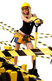 Sexy blonde female construction worker Royalty Free Stock Photography