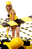 Sexy blonde female construction worker Stock Photo