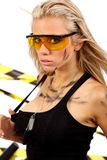 blonde female construction worker Stock Image