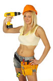 Sexy blonde female construction worker. Isolated over white background Stock Image