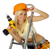 Sexy blonde female construction worker Royalty Free Stock Photo