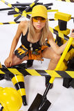 Sexy blonde female worker Royalty Free Stock Image