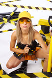 Sexy blonde female worker Royalty Free Stock Images