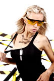 Sexy blonde female  worker. Sexy blonde female construction worker Royalty Free Stock Photos