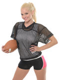 Sexy blonde football (American) player Royalty Free Stock Photography