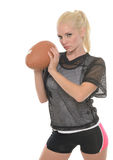 Sexy blonde football (American) player Stock Image