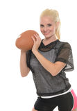 Sexy blonde football (American) player Royalty Free Stock Photos