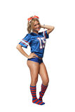 Sexy Blonde Football Fan (1) Stock Photo