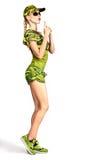 Sexy blonde Frau in der Tarnungsart, die Gewehr herstellt Stockfoto