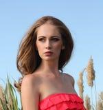 Sexy blonde Frau im eleganten Kleid Lizenzfreie Stockfotos