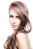Sexy blonde Frau mit dem langen Haar Lizenzfreies Stockfoto