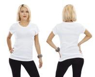 Sexy blonde Frau mit leerem weißem Hemd Lizenzfreie Stockfotos