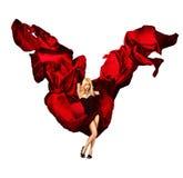 Sexy blonde Frau mit roter Seide auf Weiß Stockbilder