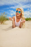 Sexy blonde girl on the  beach. Sexy blonde girl on the summer beach Royalty Free Stock Image