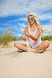 Sexy blonde girl on the  beach. Sexy blonde girl on the summer beach Royalty Free Stock Photography