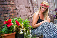 Sexy Blonde Girl in Casual Fashion Royalty Free Stock Image