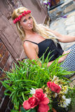 Blonde Girl in Casual Fashion royalty free stock image