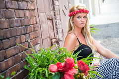 Blonde Girl in Casual Fashion royalty free stock images