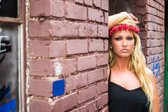 Blonde Girl in Casual Fashion stock image